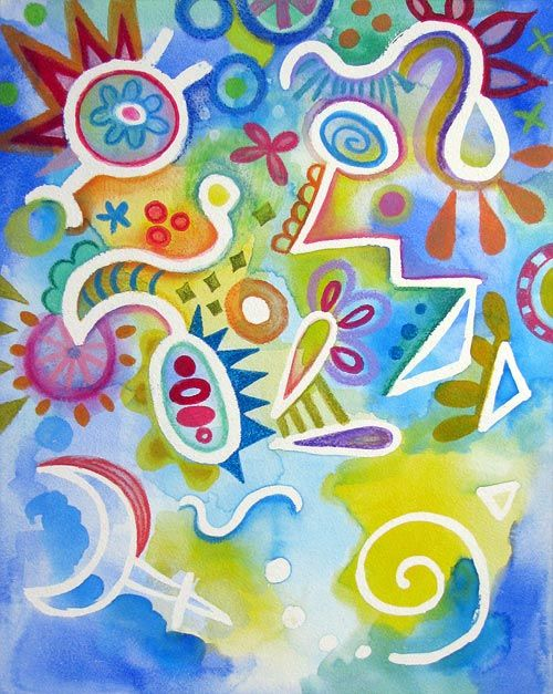 Watercolor Pencil Art Lesson Colorful Whimsical Abstract Art