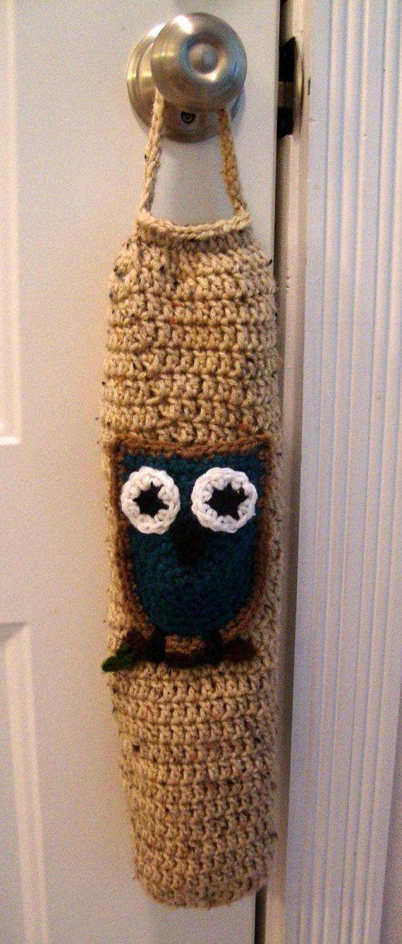 Crochet Pattern For Trash Bag Holder : Grocery Bag Holder Crochet Owl Get Crafty Pinterest ...