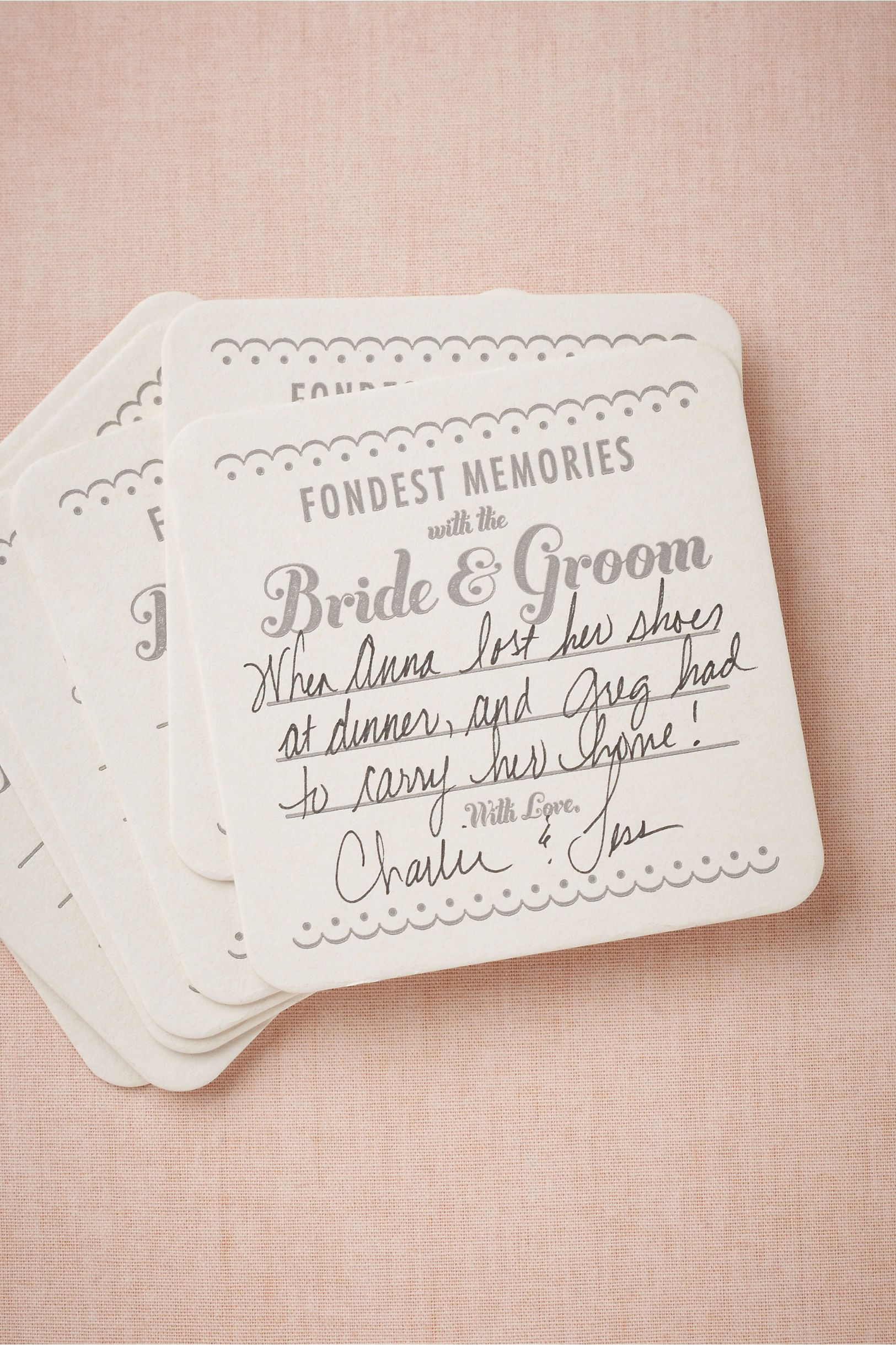 Have guests write their fondest memories of you as a couple on ...