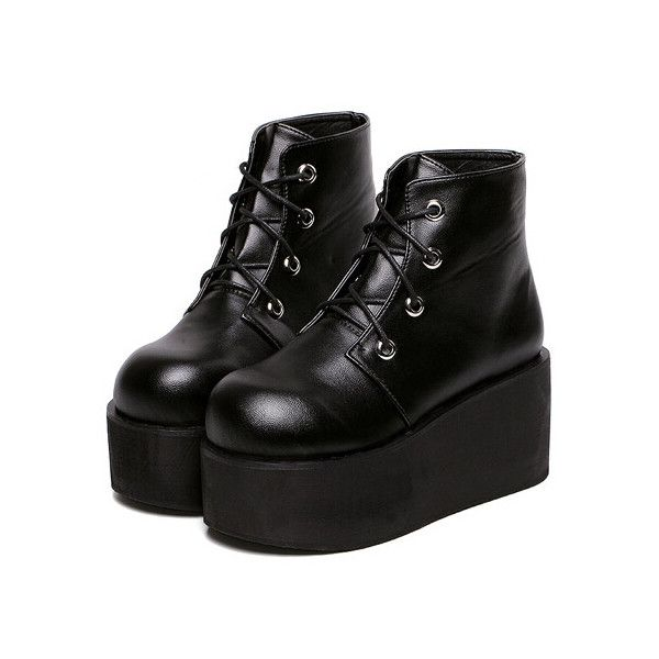 323fc4e5e5 Black Thick-soled Round Toe PU Boots ($38) ❤ liked on Polyvore featuring  shoes, boots, black, lace up boots, lace-up platform boots, high heel  platform ...