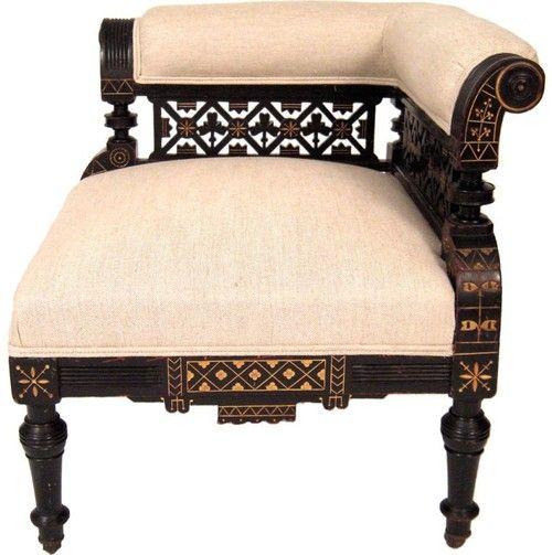 Eastlake parcel gilt and ebonized corner chair, c. 1875. - Eastlake Parcel Gilt And Ebonized Corner Chair, C. 1875. Chairs