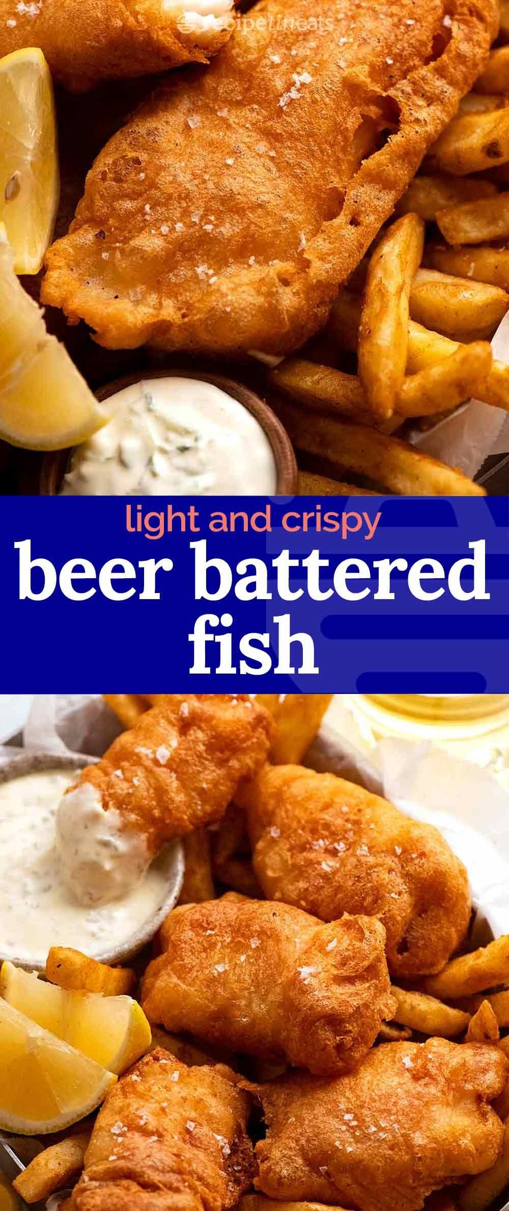 Crispy Beer Battered Fish Recipe In 2021 Battered Fish Beer Battered Fish Fish Batter Recipe