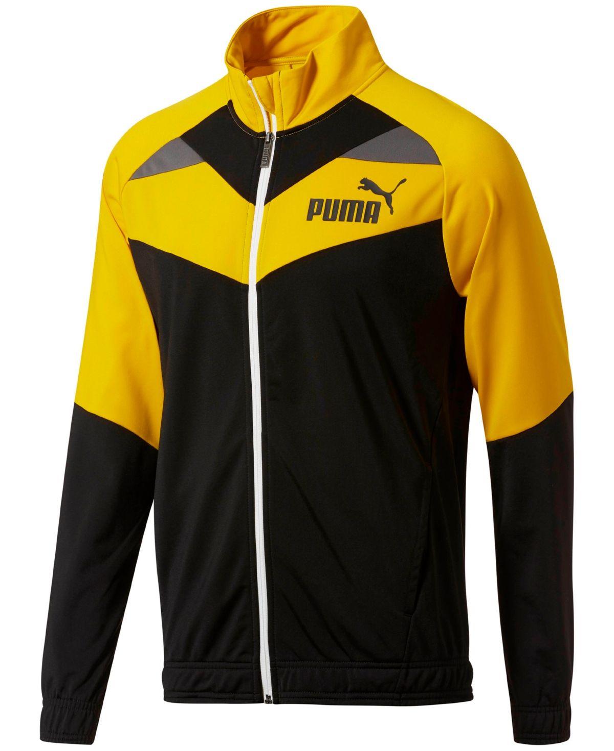 Puma Men S Colorblocked Track Jacket Yellow Black Mens Outdoor Jackets Casual Wear For Men Sports Fashion Men [ 1467 x 1200 Pixel ]