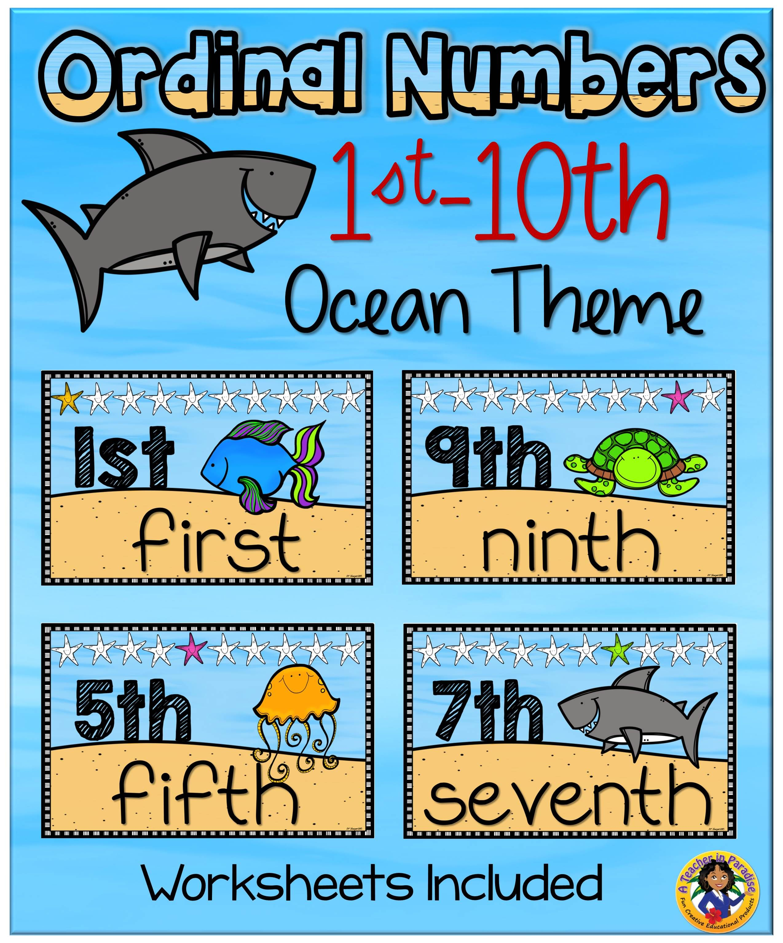 Ordinal Number Posters and Worksheets | A Teacher in Paradise Store ...