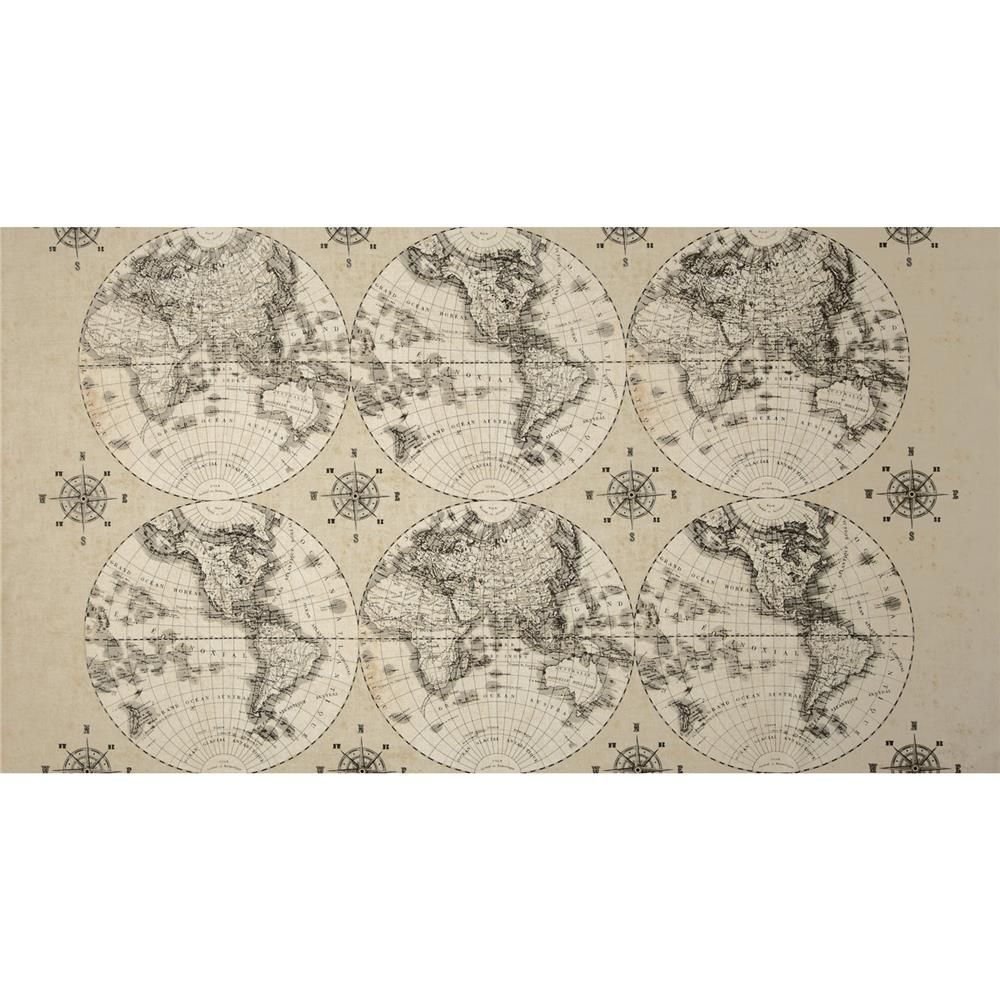 world maps world maps multi from designed by sue schlaback and licensed by wild apple to windham fabrics this cotton print fabric is perfect for quilting