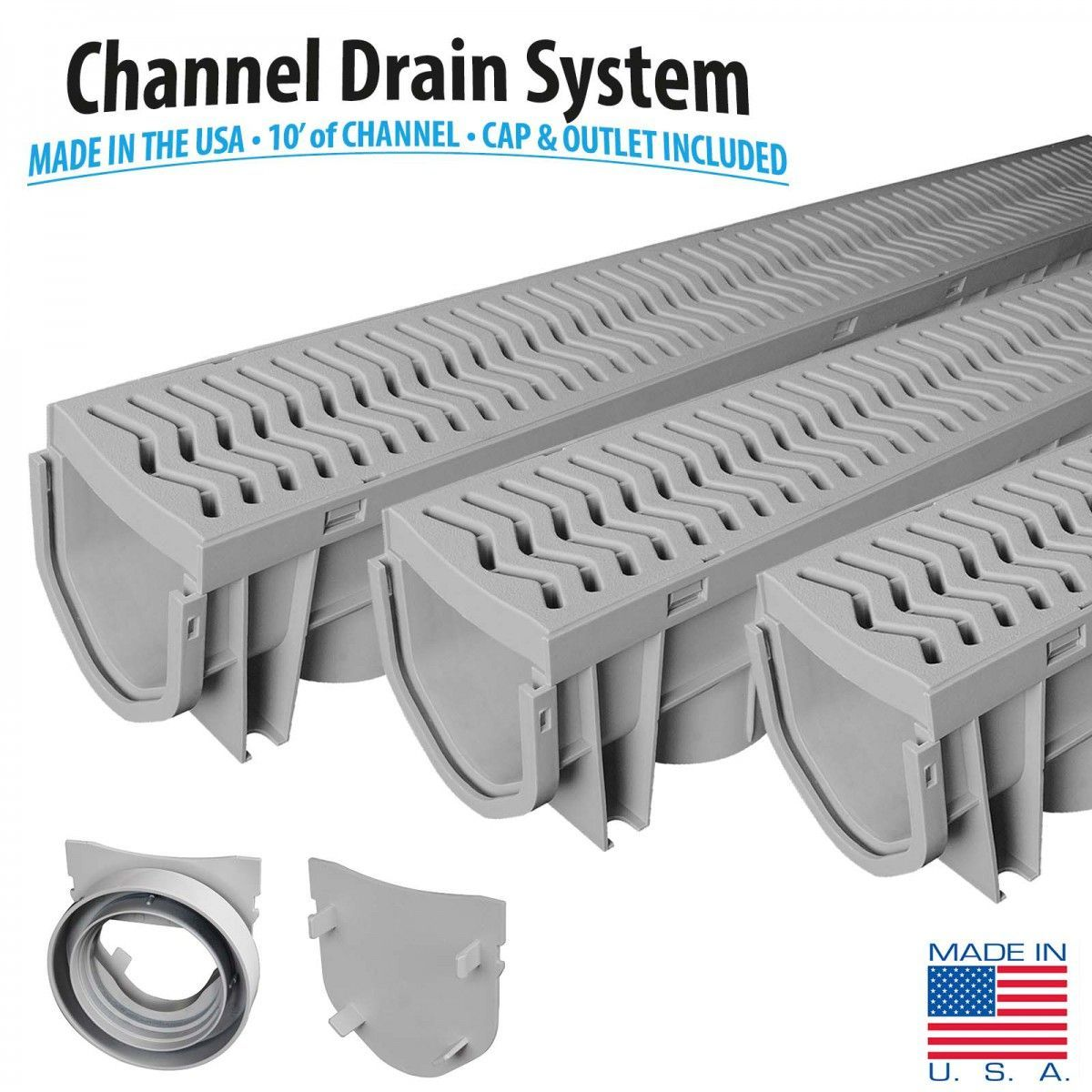 Source 1 Drainage S1e Plcd 3pk 3 Pack Trench Driveway Channel Drain System With Grates In 2019 Basement Flooding Solutions Trench Drain Driveway Drain