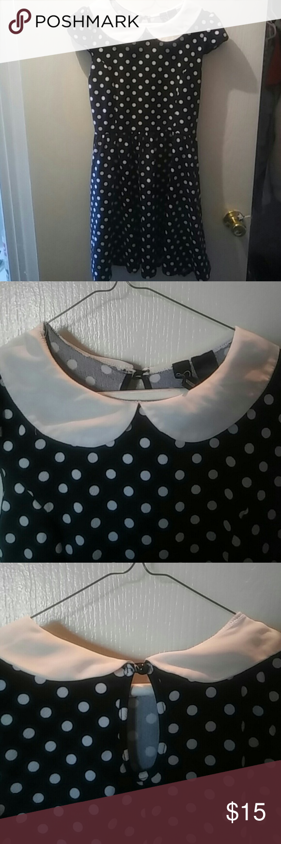 Girly Goth Collared Cap sleeve Polka Dot Dress Black and white polka dot dress. A-line skirt subtly gathered at the waist. Seams on top of dress give a very flattering, fitted look.  Practically brand new.  Size Large but with the fabric and fit, I think it would suit S-L. WINDSOR Dresses Midi