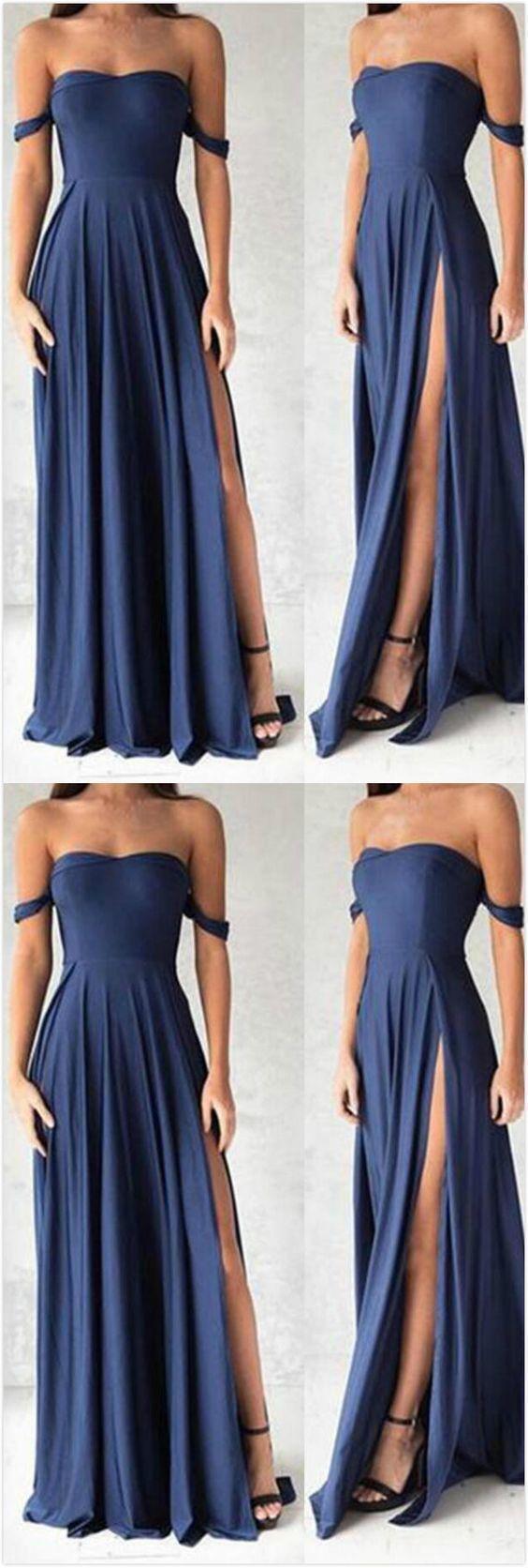 Sexy offshoulder prom dress navy blue chiffon prom dress slit