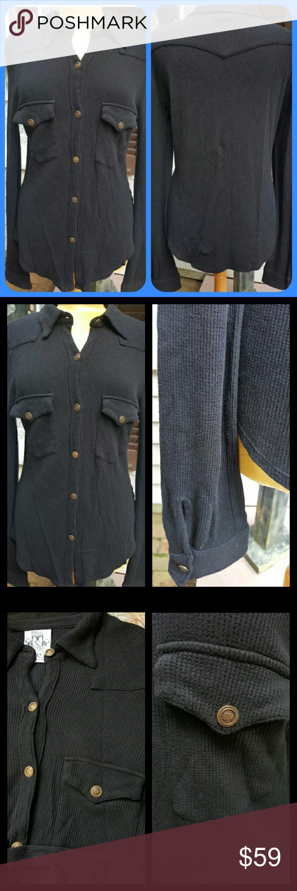 new Royal Plush THERMAL Waffle knit button up top brand new w/out tag  brand is ROYAL PLUSH  MSRP $126 made in USA YAYYY  u have ur pull over style waffle knit thermal tops...now u can have a button down! cool pocket seaming detail and ahhsome buttons . all.in thee details ! this line has its own sizing ..has little fleur di lis thingies..this is the 3rd one which is the brands equiv of sz medium. nevertheless all brands have their own sizing guides so measurements will be provided in comms…
