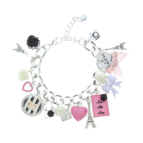 Pretty Pink Paris Charm Bracelet