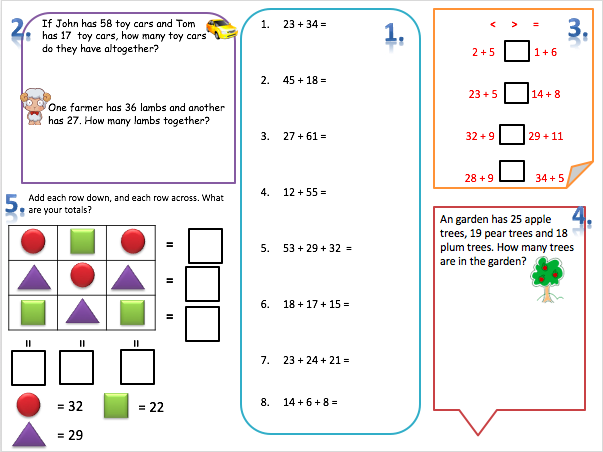 Year 2 Addition Mix Worksheets Number Sentences Word Problems Puzzles Differentiated X3 Word Problems Sentences Math Addition