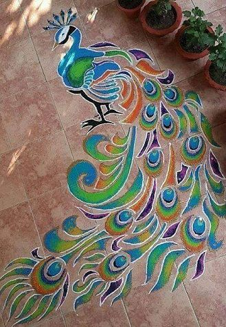 25 Different Peacock Rangoli Designs with Lovely Shades 2020