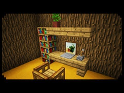 Minecraft How To Make A Home Office Youtube Office Home Furniture Double Desk Home Minecraft Interior Design Minecraft Room Minecraft Furniture