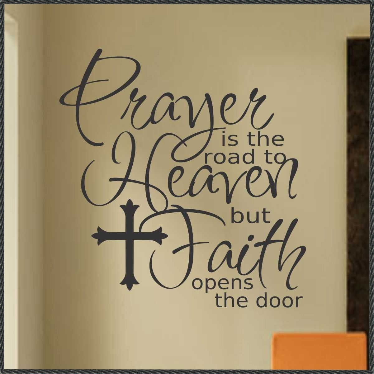 Religious Quotes About Faith Vinyl Wall Lettering Religious Quote Prayer Faith With Cross