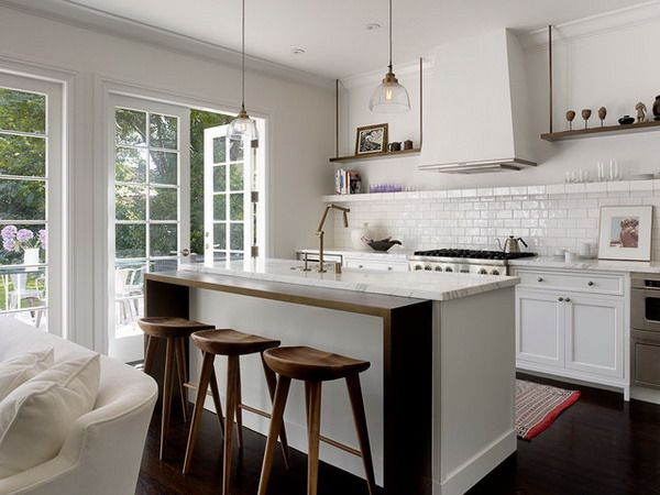 Modern Wooden Kitchen Counter Height Stools Design