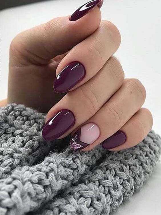 Deep Purple And Glitters Nail Designs And Nail Arts Tumblr Nails