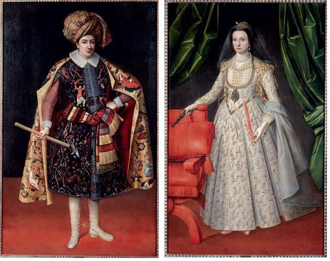 18th century american women paintings classic costumes double portrait of sir robert shirley and his circassian wife teresia ca he wears persian clothes while she wears european clothing with a circassian cap publicscrutiny Image collections