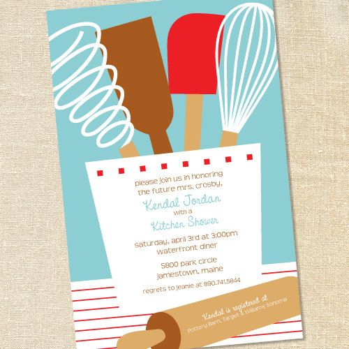 kitchen party invitation cards design. Kitchen Utensils in Tiffany Blue for Bridal Showers  Cooking Parties by Sweet Wishes Stationery