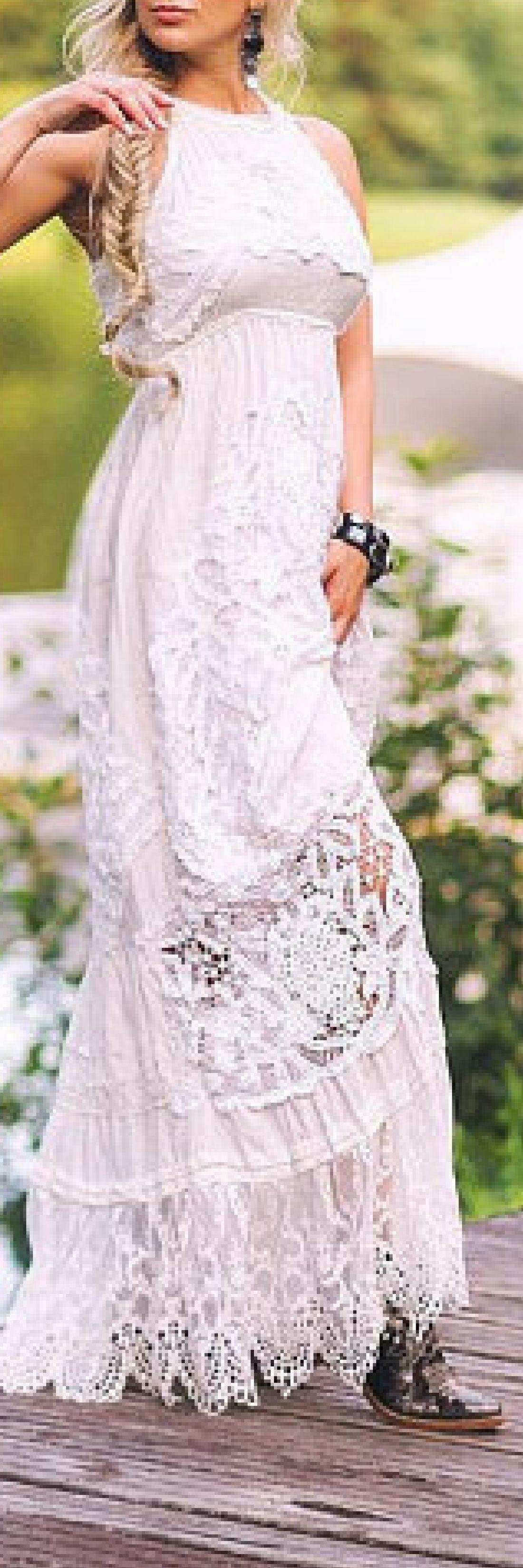 Boho beach wedding dress vintage ivory cotton lace wedding dress