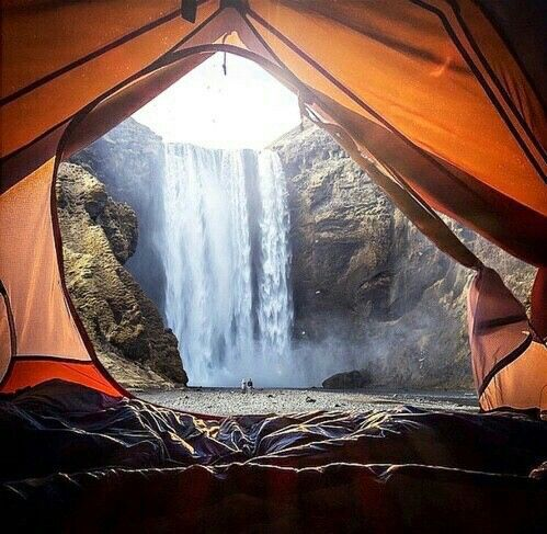 Waterfall Mountain Tent Camping Wild Life