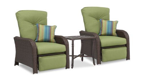 Amazing Sawyer Patio Recliner Set: Includes 2 Recliners (Green, Wicker) And Side  Table