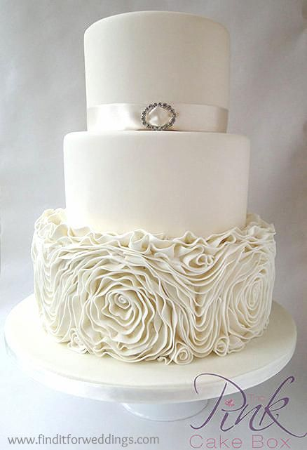 Champagne Ruffled Rose Wedding Cake    www.finditforweddings.com