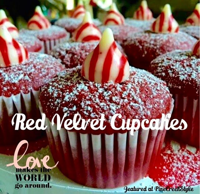 Red Velvet Cupcakes...Beautiful & Simplistic...great last minute dessert for Valentine's Day from PineCreekStyle