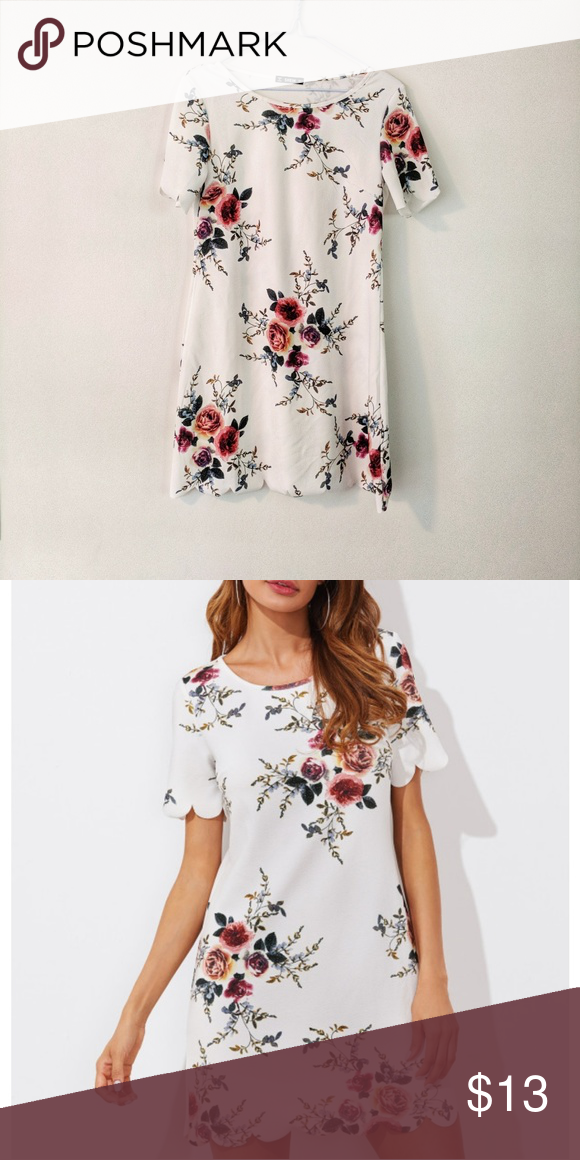 d291c1e463 Shein • Floral Scallop Detail Dress Shein • Floral Scallop Detail Dress  White, scallop details on the sleeves and bottom hem. Has stretch. NWOT  16.5