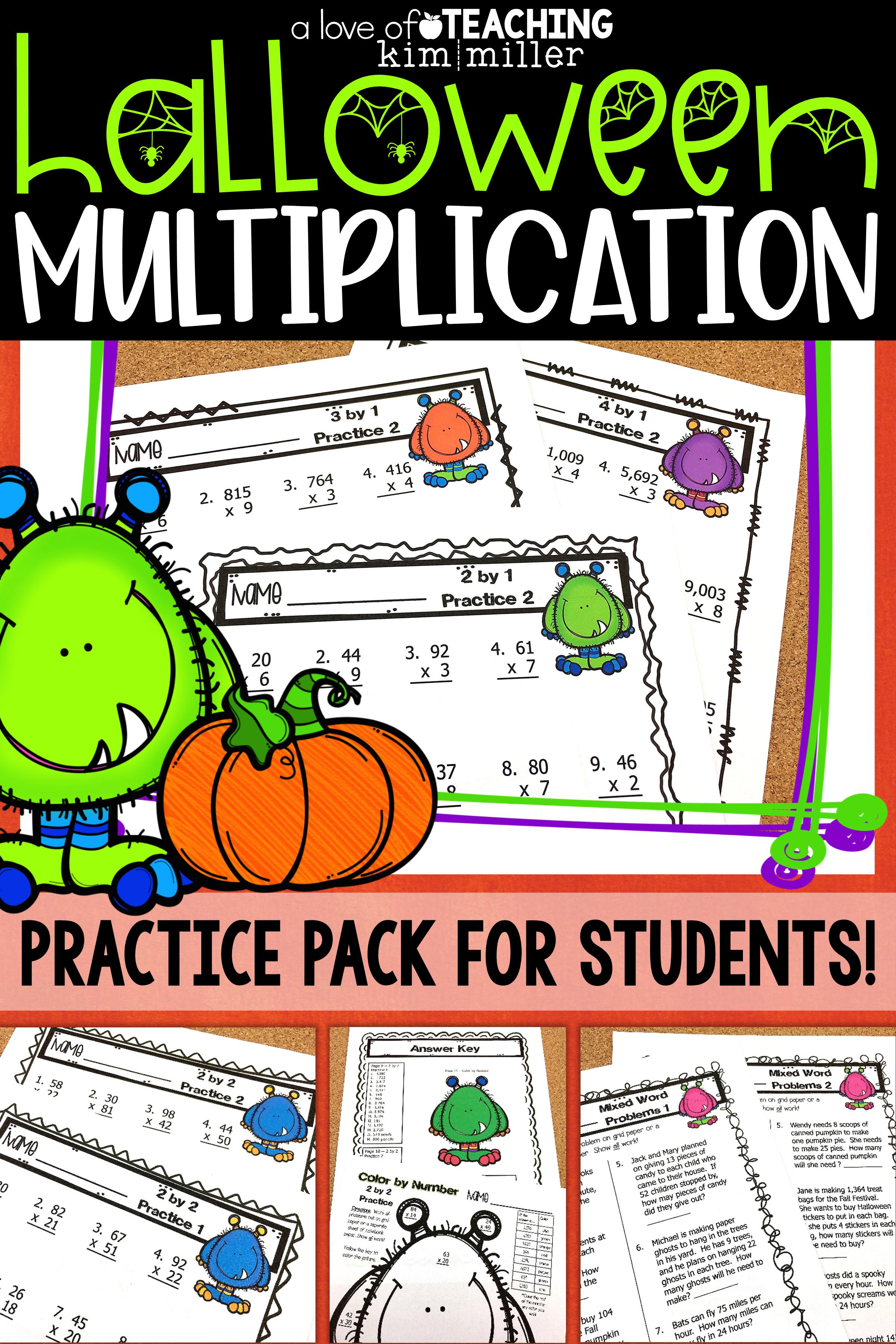 Halloween Math Multiplication Practice Activities