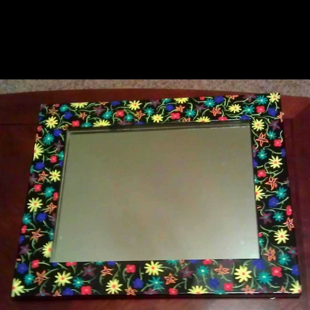 Painted Mirror Frame Wildflower Hand Painted Mirror Frame