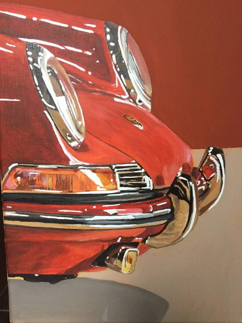 Porsche Red Painting In 2021 Car Painting Classic Car Decal Automotive Art