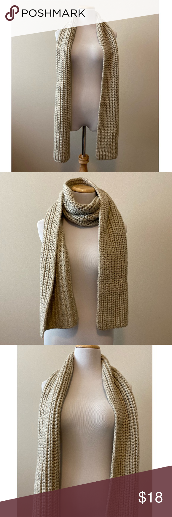 Photo of Gap Oversized Knit Scarf in Oatmeal NWOT NWOT Gap Thick Rib Scarf in Oatmeal. Lo…