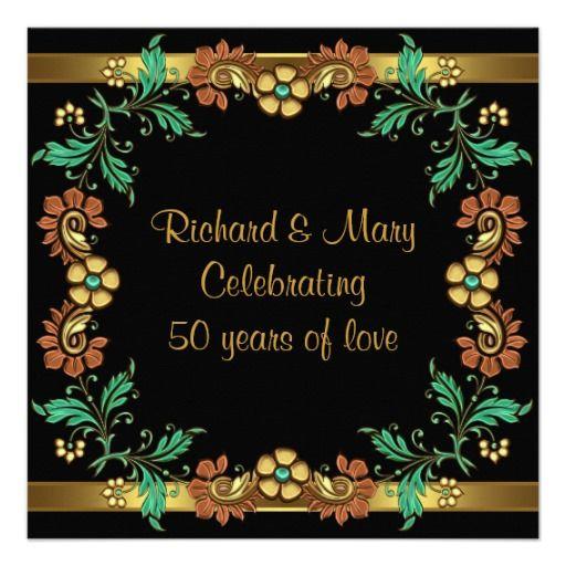 Flowers For Golden Wedding Anniversary: Gold Flowers 50th Wedding Anniversary Party Invitation