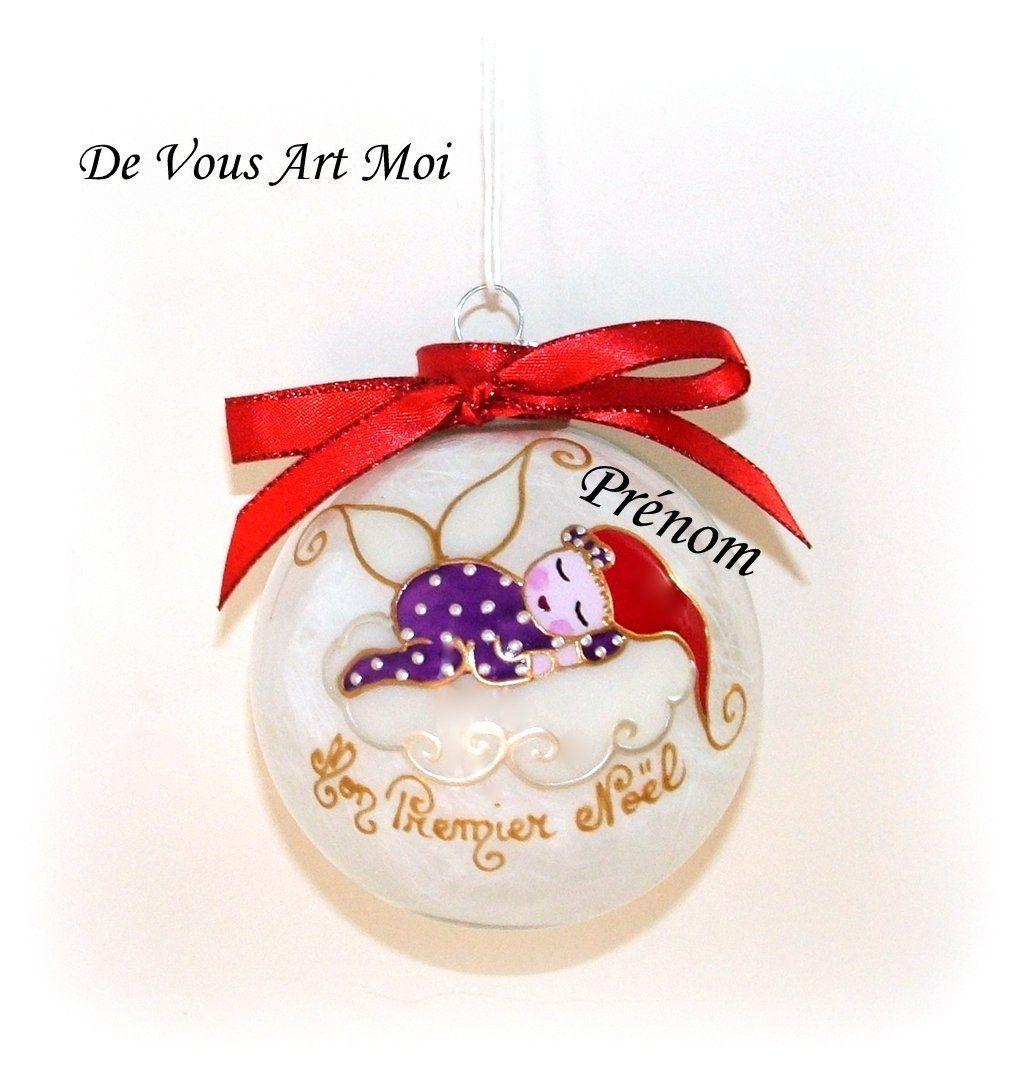 Premier Noel Pin by devousartmoi on Boule mon premier noel bébé   Glass ball