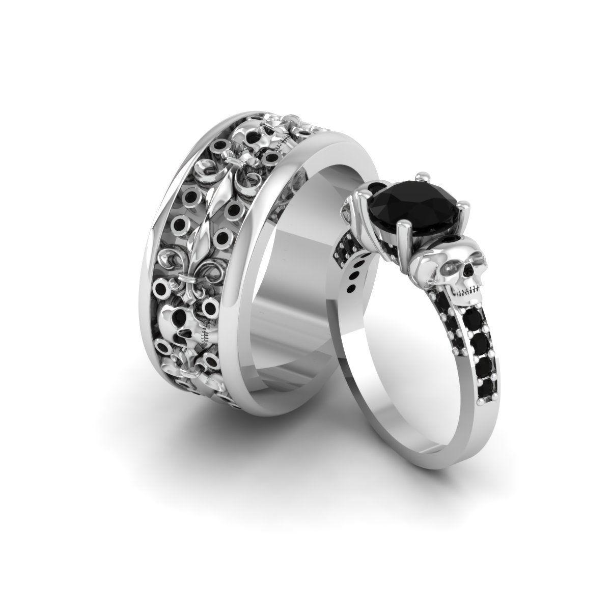 22++ Skull wedding rings set ideas in 2021