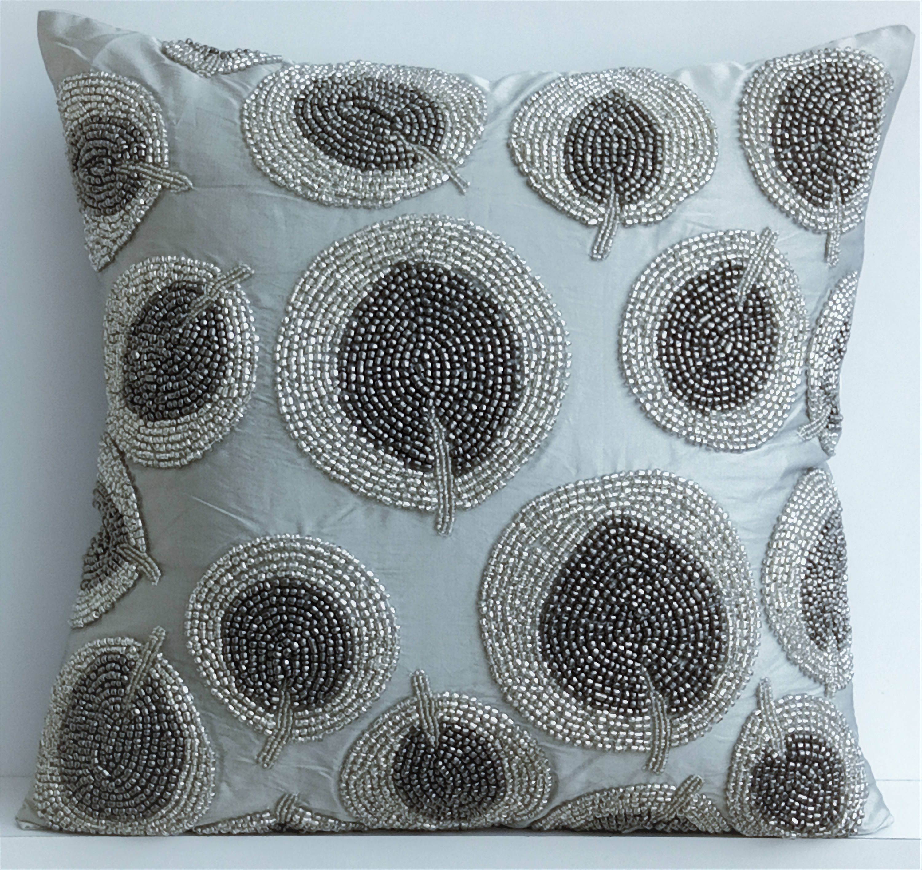 Art Silk Silver Throw Pillow Cover 16 X16 Designer Couch Throw Trees Pillow Case Nature Floral Modern Style Silver Round Leaves Silver Pillows Silver Throw Pillows Silk Pillow Cover