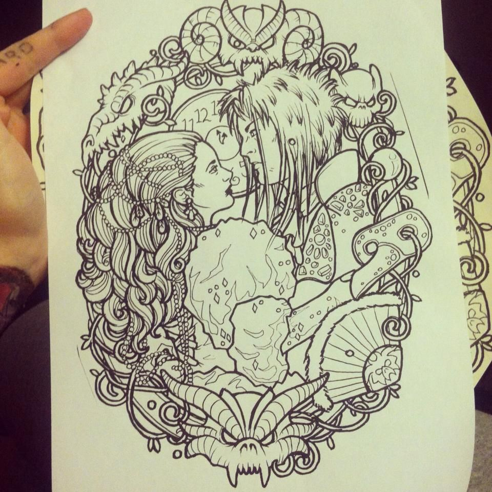labyrinth line drawing by lynntattoos designs interfaces ... Labyrinth Movie Quotes Tattoos