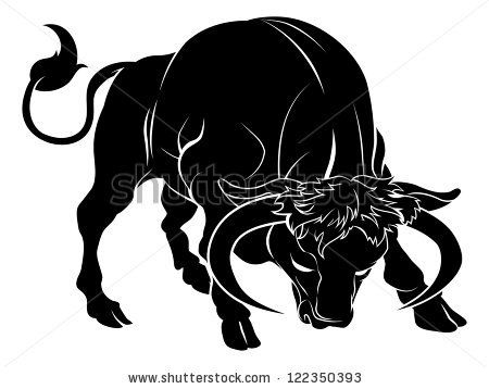 an illustration of a stylised black bull perhaps a bull tattoo stock vector