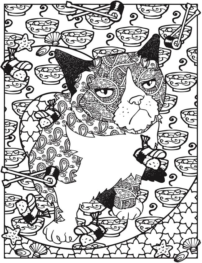 Creative Haven Grumpy Cat Hates Coloring  Coloring Book @ Dover - copy christmas coloring pages cats