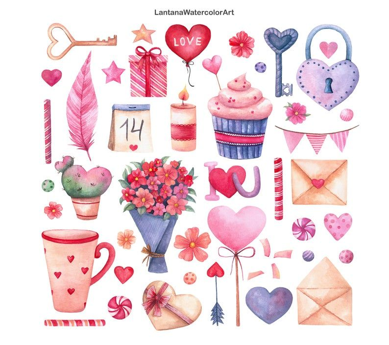 Valentines Day Watercolor Clipart Valentine Clipart Love Clipart Flowers Hearts Letters Candy Cup Instant Download Png In 2021 Valentine Clipart Valentines Watercolor Valentines Day Clipart