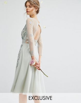 b3a968a94c7b9 Amelia Rose Embellished Full Midi Dress With Long Sleeve   Open Back  Bridesmaid Dress Colors