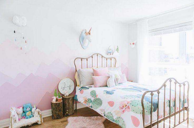 wandgestaltung farbe rosa kinderzimmer mädchen einrichten