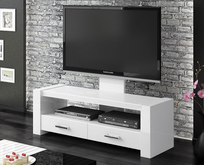 We Offer Monaco White Gloss TV Stands. Our TV Stand Includes Screen Mount,  Drawers