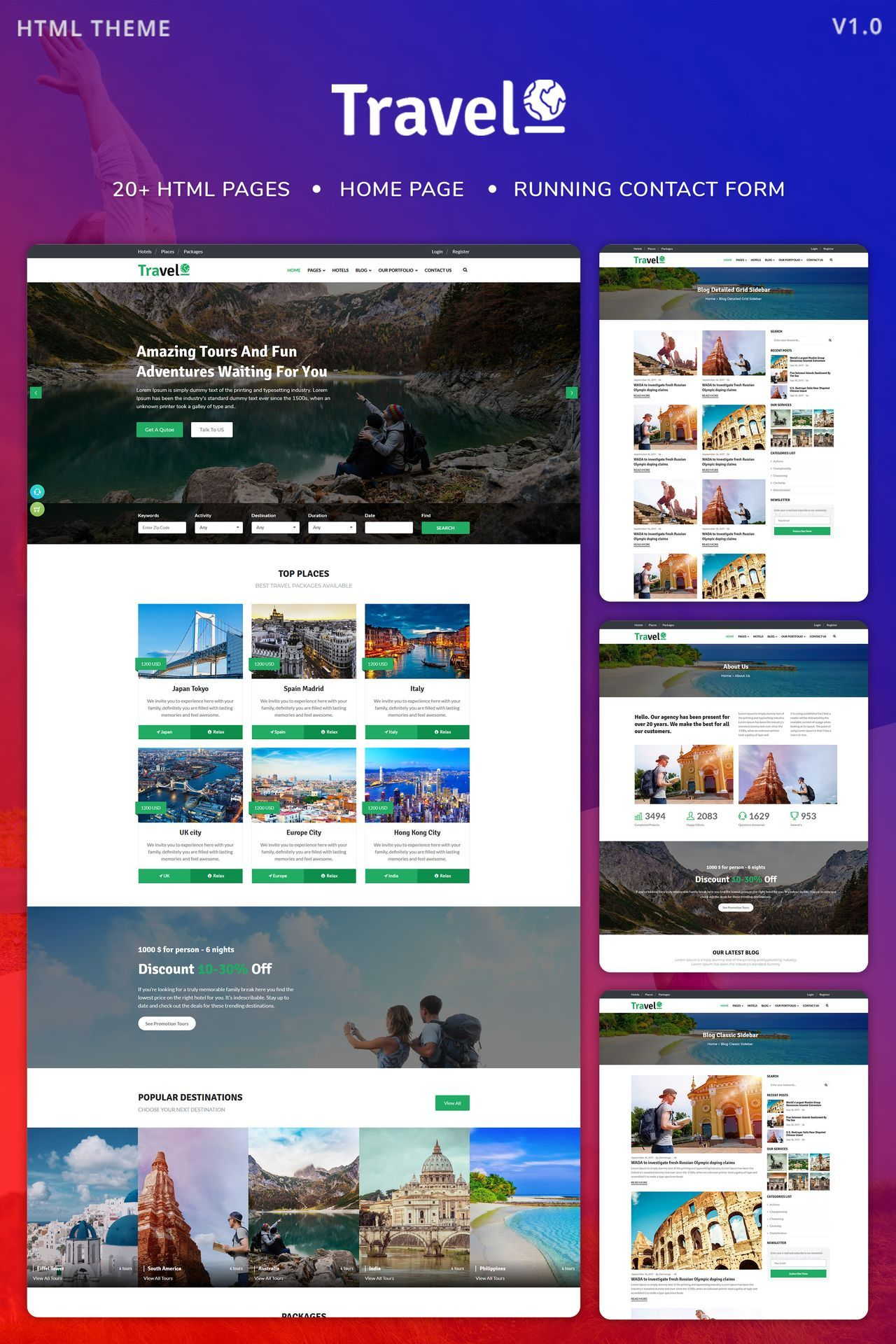 travelo tour travel agency website template new website