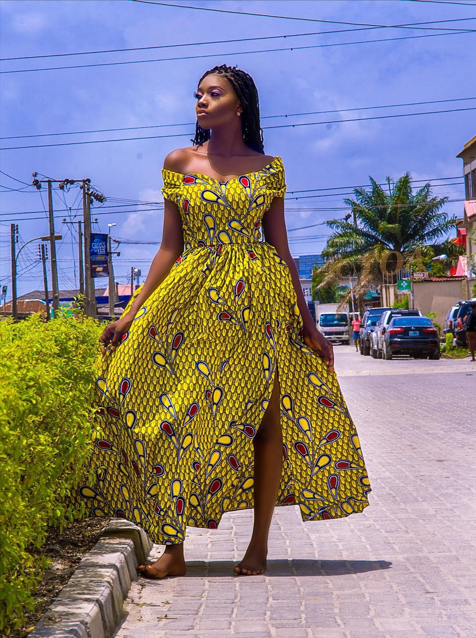 Stylish Ankara Dress, Off Shoulder, Open back Dres