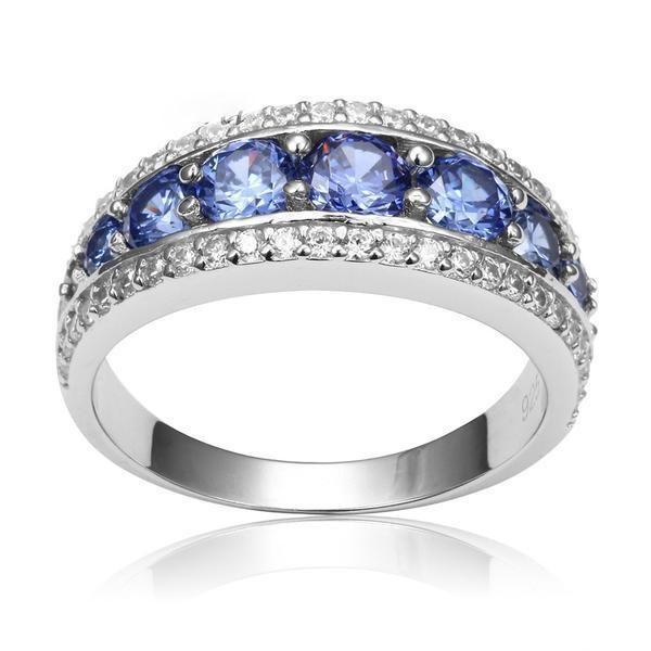 Ladies Sterling 925 Fine Silver 3 Stone Tanzanite /& White Sapphire Eternity Ring