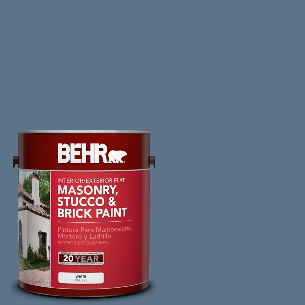 BEHR 1 gal. #bxc-75 Saltbox Blue Flat Interior/Exterior Masonry, Stucco and Brick Paint
