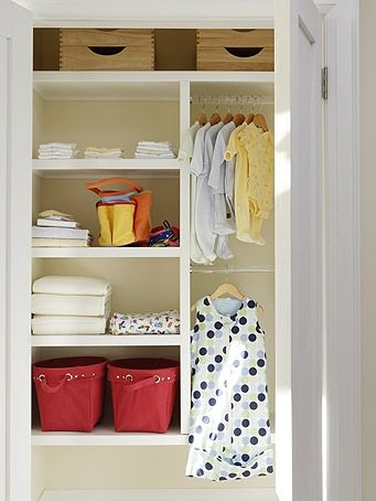 closet option - shelving on one side, double bar on the other, single shelf with bins on top...great idea for the coat closet...