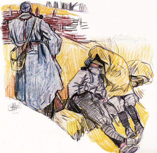 La fatigue dessin de mathurin m heut 14 18 c t poilus - Dessin de poilu ...