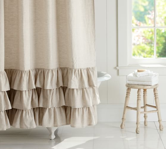 Beautiful For A Ladies Bathroom Linen Ruffle Shower Curtain Pottery Barn Ruffle Shower Curtains Fabric Shower Curtains Bathroom Shower Curtains
